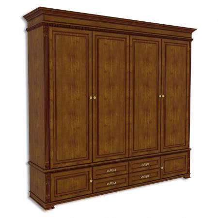 Шкаф четырехдверный, с 2-мя нижними дверками и 4-мя ящиками Акорн-м купить
