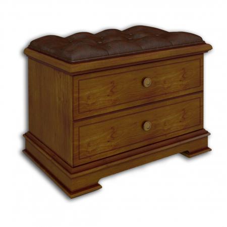 Тумба под вешалку, с 2-мя ящиками, мягкое сидение, экокожа, каретная стяжка