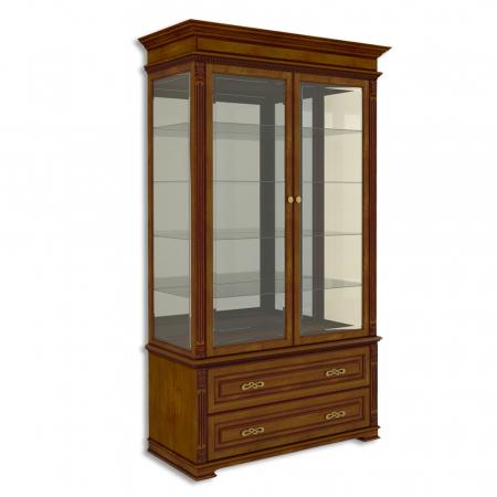 Витрина двухдверная стеклянная, с 2 выдвижными ящиками Акорн-м купить