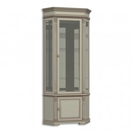 Витрина стеклянная угловая, с нижней дверкой