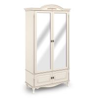 Шкаф двухдверный с зеркалом.  Нижняя секция с 2 распашными фасадами