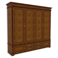 Шкаф четырехдверный, с 2-мя нижними дверками и 4-мя ящиками
