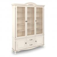 Шкаф книжный трехдверный, с нижними дверцами и 2 выдвижными ящиками