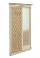 Панель-вешалка напольная с зеркалом, мягка спинка, экокожа, каретная стяжка