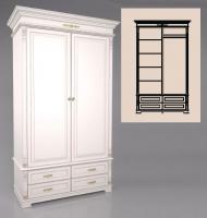 Шкаф двухдверный, с 4-мя выдвижными ящиками