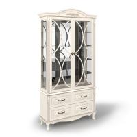 Витрина двухдверная стеклянная с декоративной решеткой, с 4 выдвижными ящиками
