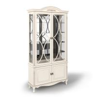 Витрина двухдверная стеклянная с декоративной решеткой, с нижними дверками