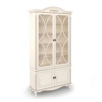 Шкаф книжный двухдверный с декоративной решеткой, с нижними дверками