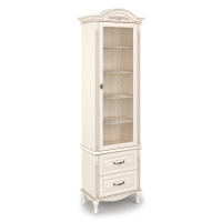 Шкаф книжный однодверный с декоративной гравировкой, с 2-мя выдвижными ящиками