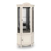 Витрина угловая стеклянная с декоративной гравировкой, с нижней дверкой