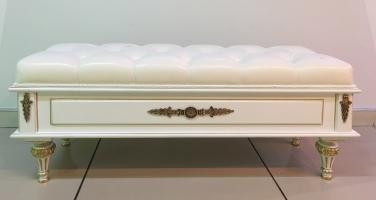 Банкетка с откидным сидением, экокожа, каретная стяжка