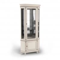Витрина угловая однодверная стеклянная, с нижней дверкой