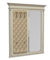 Панель-вешалка настенная с зеркалом, мягка спинка, экокожа, каретная стяжка