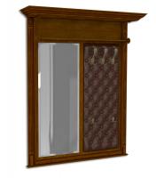 Вешалка настенная с зеркалом, мягка спинка, экокожа, каретная стяжка